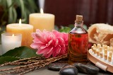 massage oil and candles